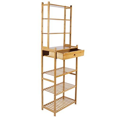 Ausla Estantería de bambú de 7 niveles, multifuncional, estante de almacenamiento con cajón para decoración del hogar, sala de estar