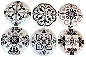 Set of 6 Black and Gray Medallion Print Cabinet Knobs