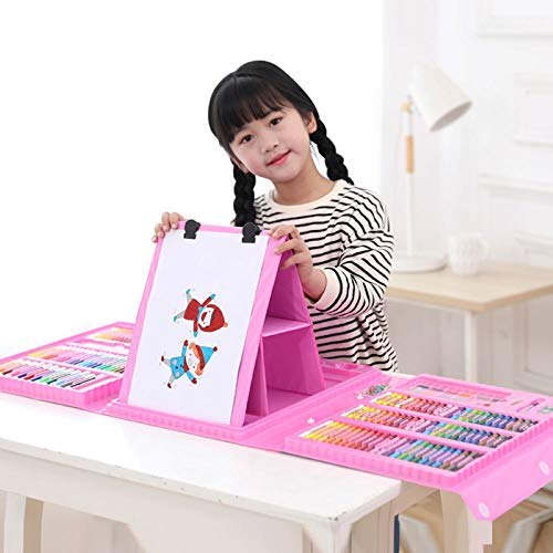 CRAZY LEDI Kids Art Set 208Pcs Painting Brush Art Kit 3-Layer Folding Easel Gift of Crayons, Oil Painting Sticks, Color Pencils, Watercolor Pens, Solid Watercolors and Drawing Board Gift for Kids