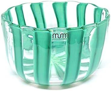 Jarrón cuenco de cristal de Murano Tonos del verde y transparente soplado a boca auténtica pieza de horno veneciana con certificado