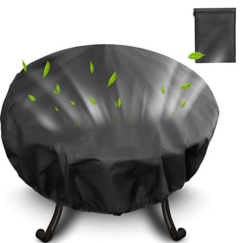 AUPERTO Garden Fire Pit Cover - Heavy Duty Fire Bowl Cover Waterproof Windproof Anti-UV Patio Protective Cover wth Adjustable Drawstring for Fire Pit