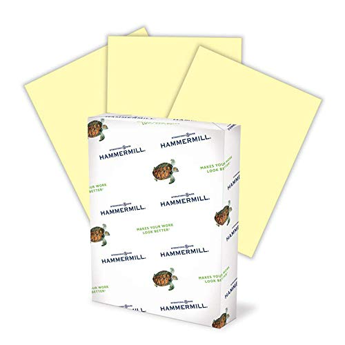 Hammermill Colored Paper, 24 lb Canary Printer Paper, 8.5 x 11-1 Ream (500 Sheets) - Made in the USA, Pastel Paper