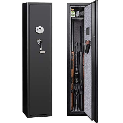 JINS&VICO Biometric Rifle Gun Safe, Quick Access 4-Gun Metal Rifle Gun Cabinet with Removable Shelf, All-Round Anti-Static Rifle Safe for Bullets and Valuables, with Handgun Bag