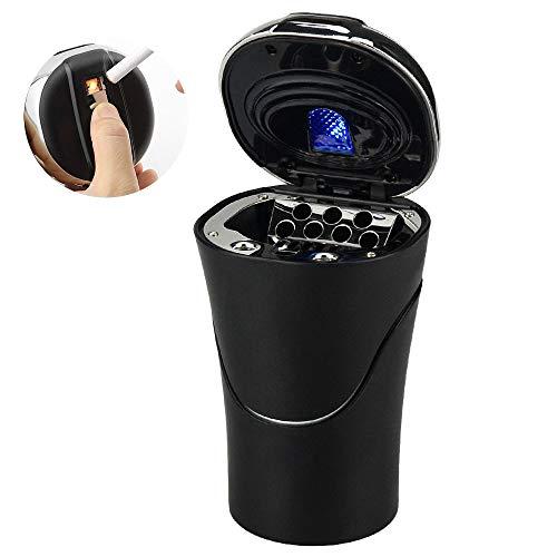 E-More-Cenicero portátil y extraíble con encendedor. Sistema de escape de humo, indicador LED azul y cable de carga USB. Portavasos adecuado para la mayoría de los automóviles