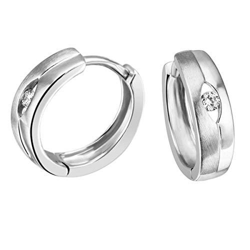 Goldmaid Damen-Creolen Ohrringe Silber 925 matt und 2  glänzend Zirkonia Ohr-Schmuck