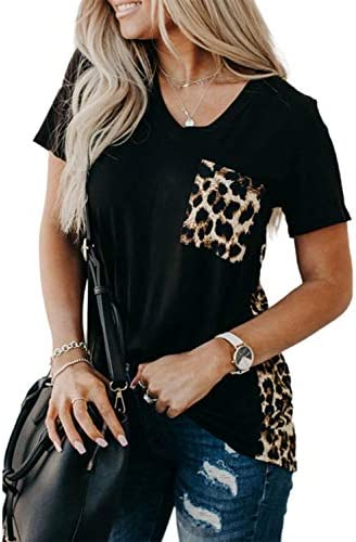 Blooming Jelly Women s Leopard Print Tops Casual Summer Loose V Neck Shirts Short Sleeve Blouses product image