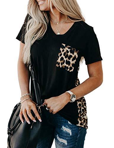 Blooming Jelly Women's LeopardPrintTops Loose VNeckShirts ShortSleeveBlouses with Pocket (XX-Large, Black)