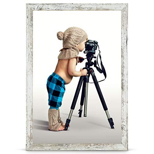 Stallmann Design Bilderrahmen 40x60 cm Vintage Rahmen Fuer Dina 4 und 60 andere Formate Fotorahmen Bilderrahmen zum hängen aus Holz MDF mehrere Farben wählbar Frame für Foto oder Bilder