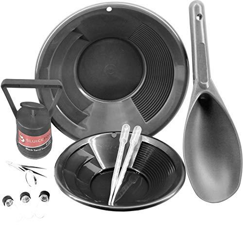 Sluice Fox 10 Piece Gold Panning Kit | Gold Pans | Vials | Magnetic Separator