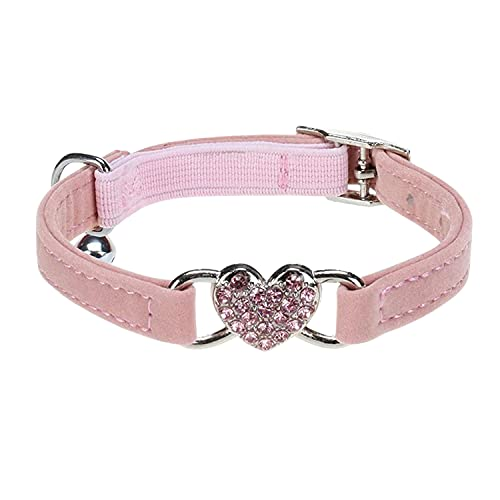 WDPAWS Heart Bling Cat Collar with Safety Belt and Bell Adjustable 8-10 inches for Kitten Cats (Pink)
