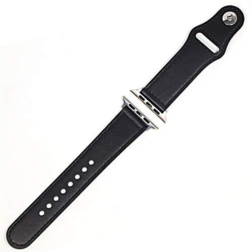 DLCYMY Correa de cuero para iWatch de 44 mm y 40 mm para iWatch de 42 mm y 38 mm de piel auténtica para reloj iwatch 5 4 3 21 (color de la correa: negro, plata, ancho de la correa: 44 mm)