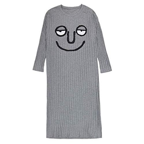 Ropa de Dormir para Mujer Nuevo Otoño Invierno de Manga Larga Camisones Atractivos Vestido de Noche Suelto de Talla Grande para el Servicio a Domicilio (Color: B, Tamaño: X-Large)