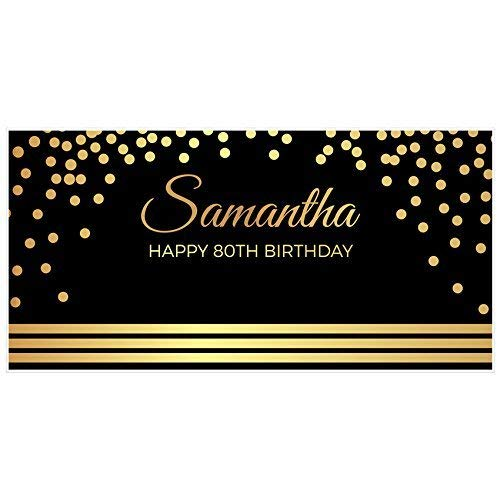 Elegant Gold and Black 80th Birthday Banner Party Backdrop