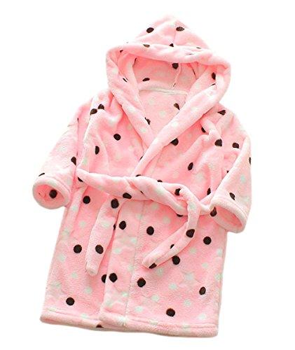 XINNE ToddlersHooded Albornoz Vestidor Tamaño del vestido de la ropa de noche pijama de franela 130 para Bebé niño punto rosado 130 / 5T