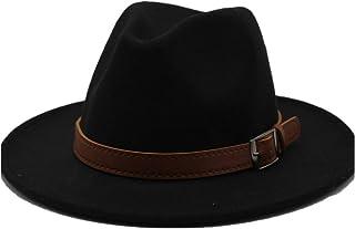 Fashion Sun Hat for Men Women Fashion Fedora Hat Wool Felt Leather Belt with Belt Lady Retro Church Jazz Hat Elegant Gentleman Suitable for hot Weather Season (Color : Black, Size : 56-58CM)