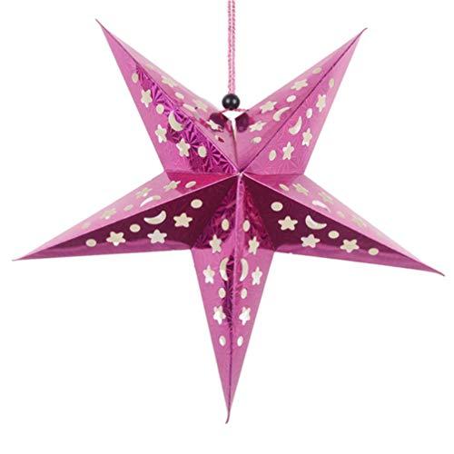 KESYOO 30cm Weihnachtsstern Papier Lampenschirm 3D Papierstern Laterne Star Lantern für Weihnachten Xmas Silvester Hochzeit Party Hängende Dekoration Ornament Fensterdeko Rosa