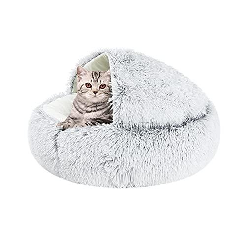 Shujin Katzenhöhle Plüsch Katzenbett 2 in 1 Faltbar Kuschelhöhle Halbgeschlossenes Schlafsack Warm Rund Waschbar Katzenhaus Schlafplatz Bett für Katzen Klein Haustier