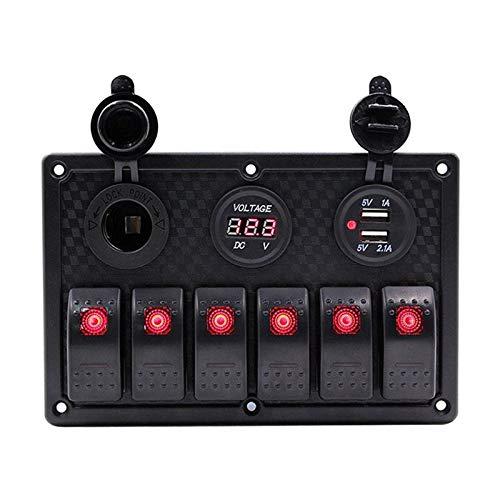 6 Panel de interruptores de rockero de pandillas para RV Marine Boat Impermeable Voltímetro Digital Dual USB Puertos USB 12V Outlet L & EDRocker Switch Panel, para Ahorrar Espacio y Dinero