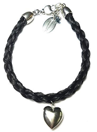 Schwarzes Pferdehaar Armband mit versilbertem Herz/Länge 17.5 cm Durchmesser 0,5cm