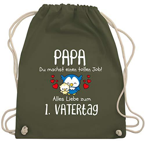 Shirtracer Vatertagsgeschenk - Papa du machst einen tollen Job alles Liebe zum 1. Vatertag weiß - Unisize - Olivgrün - Geschenk - WM110 - Turnbeutel und Stoffbeutel aus Baumwolle