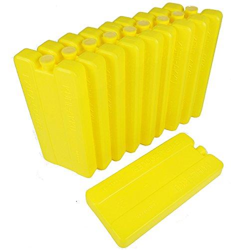 12er Pack Kühlakkus / Kühlelemente KA12H, 12h Akkus für Kühltasche oder Kühlbox ,je 200ml, gelb