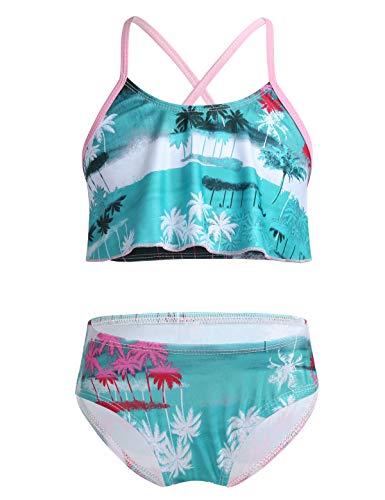 iiniim Traje de Baño de Dos Piezas para Niña Bikini Estampado Hawaii Flores Conjunto de Tankini Bañador Verano Crop Tank Top Tirante Braguitas Ropa de Baño Natacion Playa Verde 3-4 años