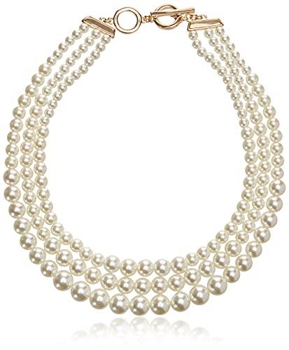 Anne Klein Women's Gold-Tone Blanc Pearl Collar Necklace, Gold/ White, 0