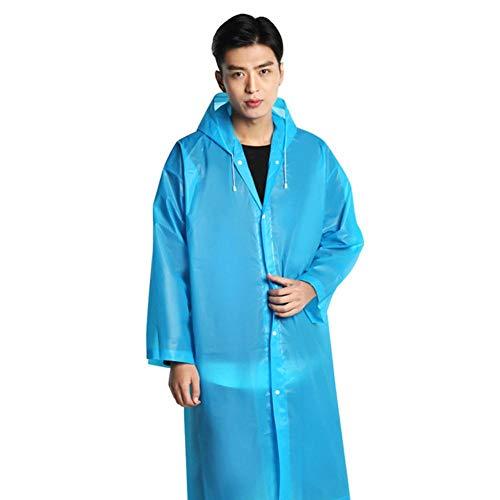 Chubasquero impermeable grueso para mujer, para adultos, transparente, con capucha, color azul, talla única