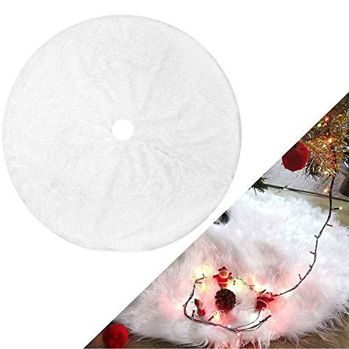 WELLXUNK Faldas para El Árbol, Manta de árbol de Navidad,Falda de Árbol de Felpa para la decoración de la Fiesta de Navidad (Blanco78)