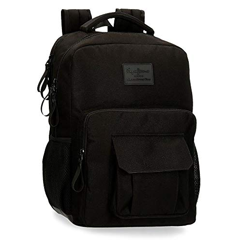 Pepe Jeans Denton Mochila Doble Compartimento Adaptable para Portátil 15,6' Negro 31x44x15 cms Poliéster...