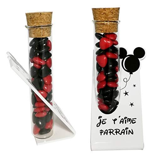 Soliflore Je t'aime Parrain – Cadeau Baptême, Boite contenant à dragées – idéal pour une décoration de table thème Mickey Mouse minnie disney disneyland – existe en modèle marraine et souvenir