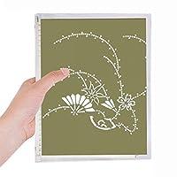 日本文化の緑の花の絵 硬質プラスチックルーズリーフノートノート