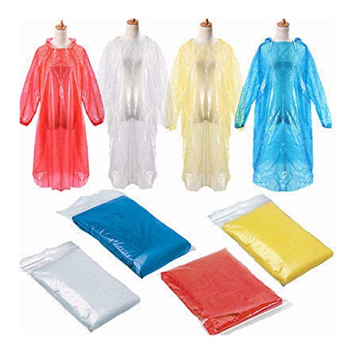 10Pcs Disposable Rain Coat Ponchos with Drawstring Hood for Adults,Iusun Raincoat Extra Thick Emergency Waterproof for Travel,Camping,Hiking,Concerts,Sport or Outdoors