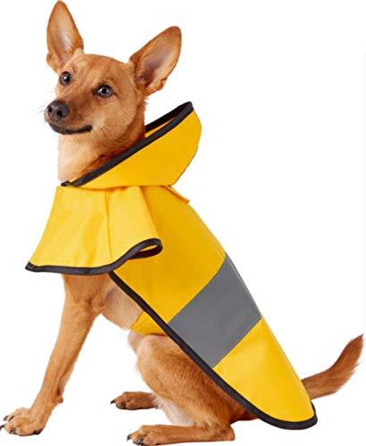 Aexit Pet Dog Regenkleidung Hund Regenmantel Große Hundekleidung wasserdichte Kapuzenjacke Verstellbarer Kordelzug Gelb-6XL