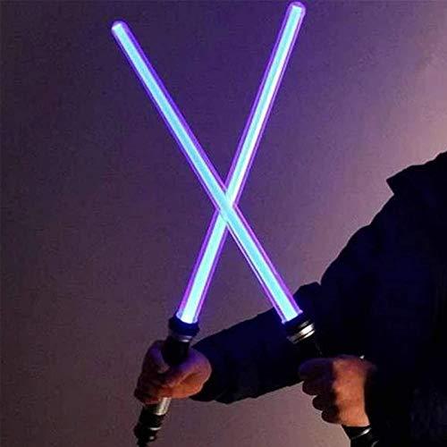 Light Up Laser Sword 2-en-1 LED FX Juego de espadas láser dual 7 colores con sonido (sensible al movimiento) para Galaxy War Fighters y Warriors Kid Gift