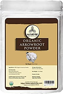 Naturevibe Botanicals Organic Arrowroot Powder, 16 ounces | Arrowroot Flour or Starch | Gluten Free and Non-Gmo | Manihot esculenta | Cooking and Baking | Thickening Agent [Packaging may vary]