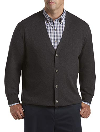 Harbor Bay by DXL Big and Tall V-Neck Button Cardigan Sweater, Carbon Heather Grey, 4XL