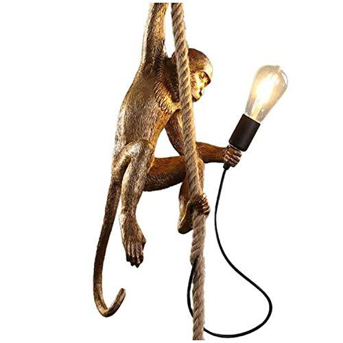 LSLVKEN Modern Creative AFFE Deckenleuchte Acryl AFFE Hanf Seil LED Kronleuchter,Hanfseil Affen-Lampen Tierpendelleuchte,Restaurant Schlafzimmer Studio Geeignet, 72Cm Hoch, E27 Glühbirne,Gold