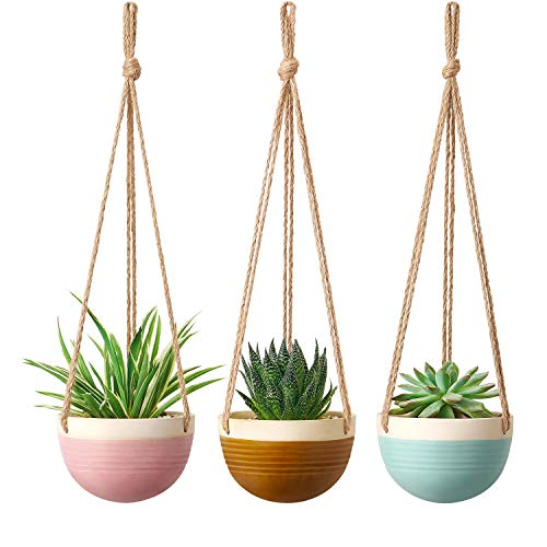 Mkono 4.5 Inch Ceramic Hanging Planter Set of 3 Colorful Flower Plant Pots Round Plant Holder with Jute Rope Hanger for Indoor Outdoor Succulent Herbs Ivy Ferns Crawling Plants, Blue, Pink and Brown
