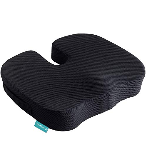 Coccyx Seat Cushion Orthopedic Memory Foam Seat Cushion for Car Office Wheelchair desk Comfort Chair Tailbone Pillow Ventilated Designed for Hip Back Sciatica Pain ReliefNonSlip Portable black