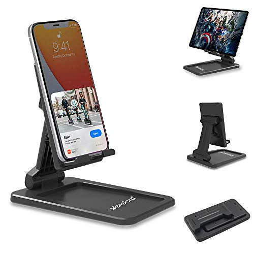 Manelord Cell Phone stand - Phone Stand for Desk with Non-Slip Base, Adjustable Desktop Phone Holder Compatible with All Mobile Phones, Fully Foldable Tablet Stands for Home and Office