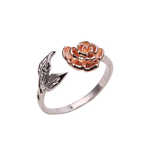 Janly Clearance Sale Women Rings , Adjustable Rose Ring Two-color Can Send Lover Couple Lover Gift , Jewelry Sets , Valentine's Day (Multicolor)