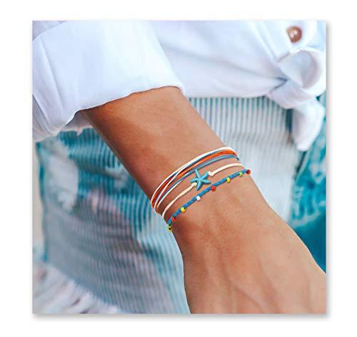 Seyaa Handmade Vsco Bracelets Waterproof Adjustable Boho Beach Bracelets Set Starfish String Hawaii Jewelry Gifts for Women Teen Girls