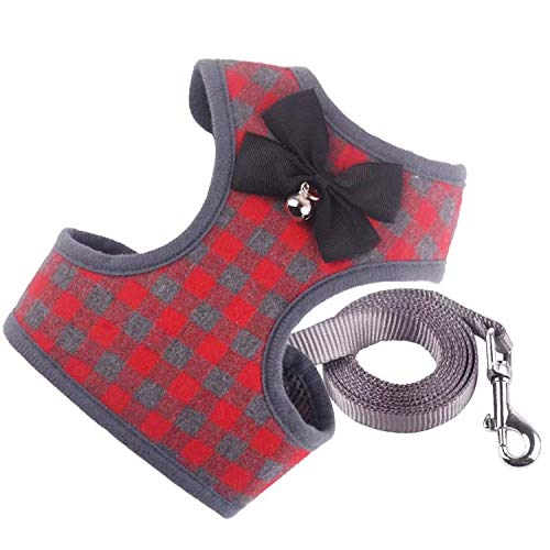 N.A Harness Vest Set Easy to Put On & Take Off Dog Harness, Puppy Padded Mesh Front Vest with Leash, Adjustable Pets No-Pull Walking Harness with Cute Bows for Small Dogs and Cats (Medium, Red)