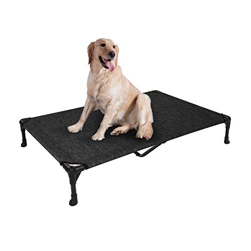 Veehoo Cooling Elevated Dog Bed, Portable Raised Pet Cot with Washable & Breathable Mesh, No-Slip Rubber Feet for Indoor & Outdoor Use, X Large, Black