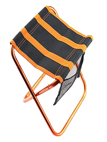 Fine Camping Stool, Folding Chair Portable Camp Stool for Camping Fishing Hiking Gardening and Beach, Camping Seat with Carry Bag (Black)