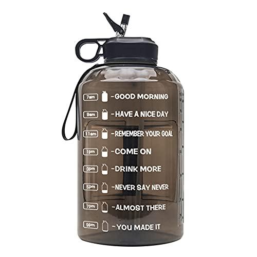 Wenxu Botella de agua de 3,78 litros, taza de agua deportiva transparente, taza de espacio de gran capacidad con tiempo para beber, taza deportiva reutilizable, segura y duradera para fitness