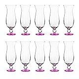 Libbey Hurricane Glasses Set of 10, 16 oz, Pina Colada Cocktail Barware, Pink