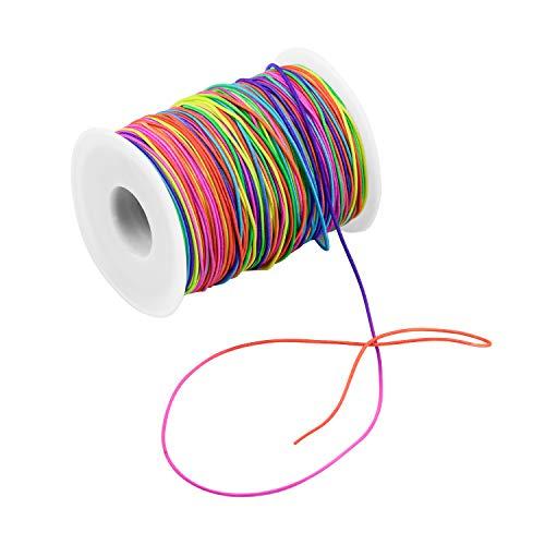 FEIGO 100m Elastische Schnur Regenbogen Farbe Stretch Faden Stoff Handwerk Schnur mit 1mm Durchmesser für DIY Halskette, Armband, Handwerk, Haargummis, Kostum Basteln,...