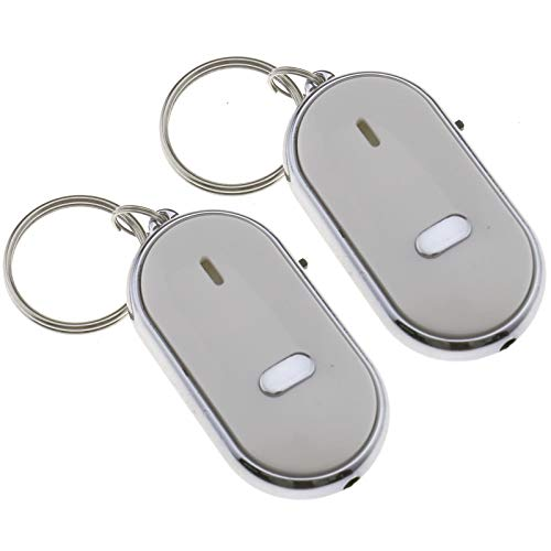 OTOTEC 2 x LED Key Finder Fischietto Remote Sound Control Locator Find Lost White Keychain
